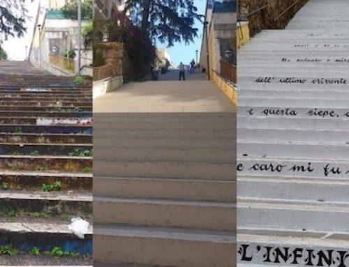 Roma, l'Infinito di Leopardi sulla scalinata di Via Tremiti a Montesacro